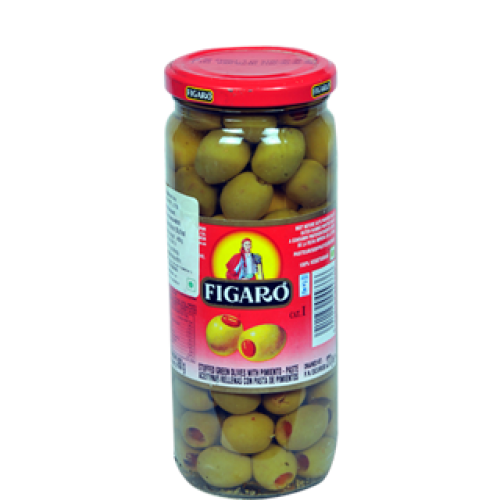Figaro Green Olives With Pimento Paste 270gm Sauce