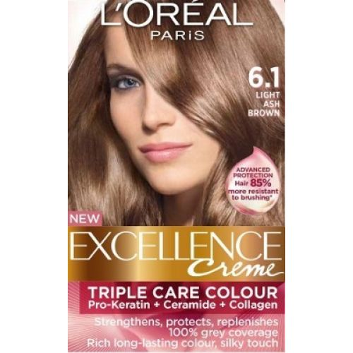 loreal excellence creme 61 light ash brown hair color