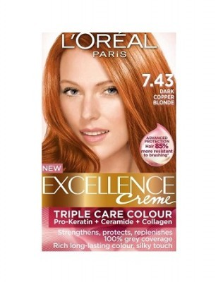 Loreal Excellence Creme 7 43 Dark Copper Blonde Hair